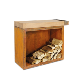 OFYR Butcher Block Storage 90 Corten Rubberwood