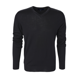 Berkeley | Wilton Cashwool V-Neck | Herrestrik Black