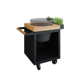 OFYR Kamado Table 65 Black PRO Teak Wood BGE